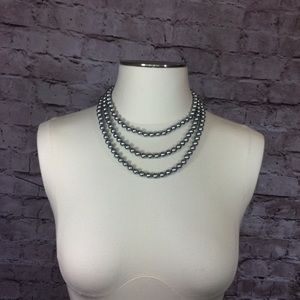Jewelry - Quality gray extra long faux pearl strand NWOT